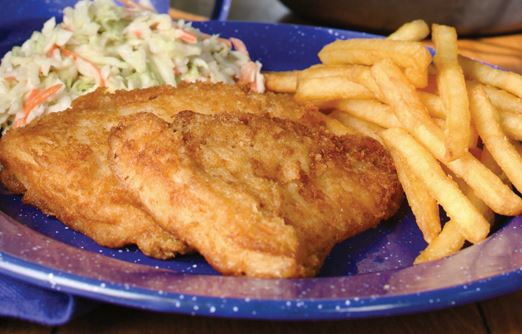 Fried Fish with French Fries and Coleslaw