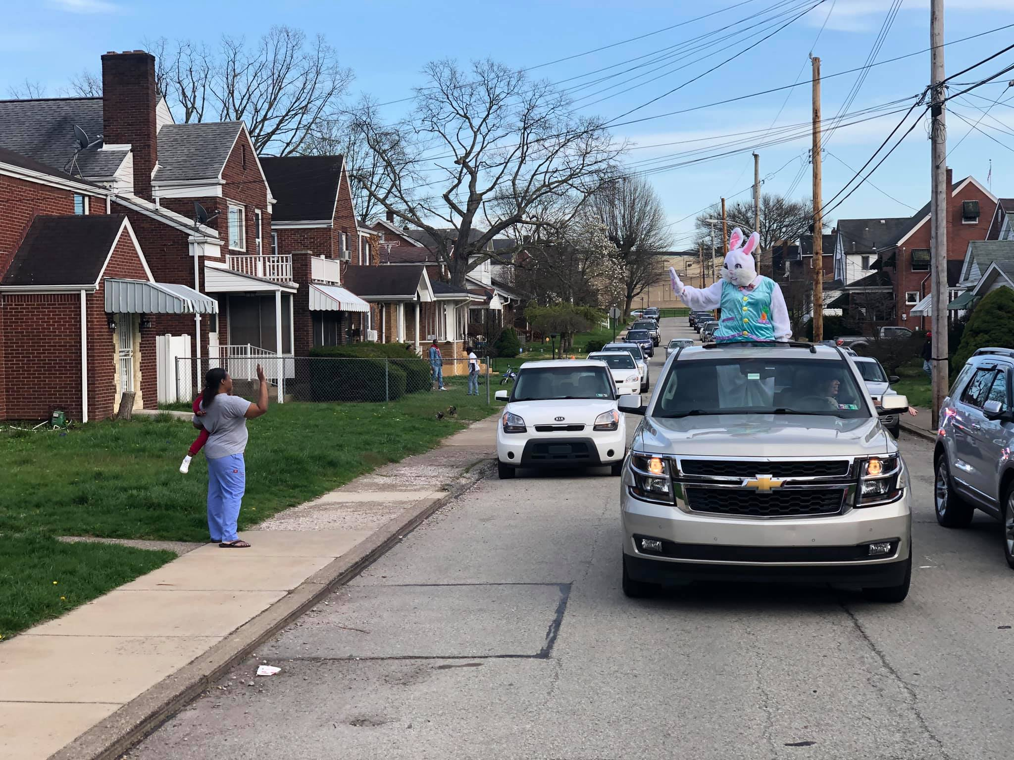 Mayor Cherepko drives Easter Bunny to wave at residents on Washington Street